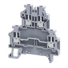 Арт. ODL2.5A 2-х уровневая клемма, четыре терминала (2+2) с винтовыми зажимами проводника до 2.5 мм.кв.