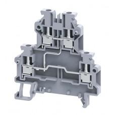 Арт. ODL2.5A(I.S) 2-х уровневая клемма, четыре замкнутых терминала с винтовыми зажимами проводника до 2.5 мм.кв.