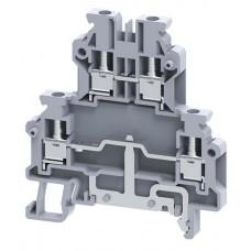 Арт. ODLG2.5A 2-х уровневая клемма, четыре терминала (2+ЗК) с винтовыми зажимами проводника до 2.5 мм.кв.