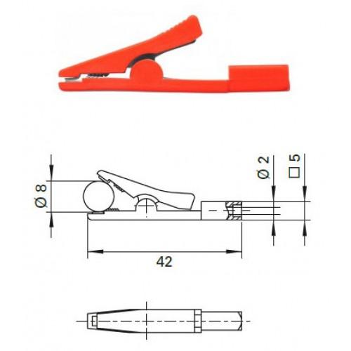 Арт. AK 2799 Ni Зажим крокодил изолированный, с гнездом под штекер банан диаметром 2 мм. Напряжение 33VAC/70VDC 10A. Контактные части никелированные, изолированный корпус из полипропилена .