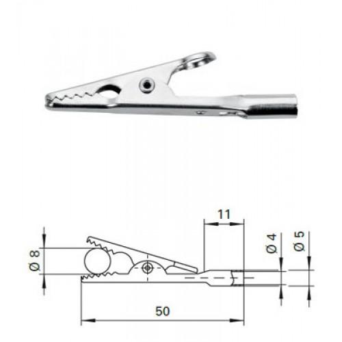 Арт. AK 305 Ni Зажим крокодил, неизолированный, гнездо под штекер банан диаметром 4 мм. Напряжение 33VAC / 70VDC/16A . Контактные части никелированные.