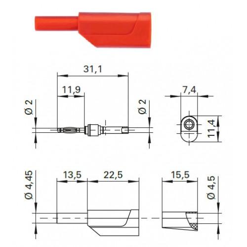 Арт. SFK 3320 Ni/OK Штекер банан, изолированный, диаметром 2 мм. Напряжение 33 VAC/70 VDC 10 А. Пайка проводника сечением до 0.5 мм.кв. Контактные части никелированные.