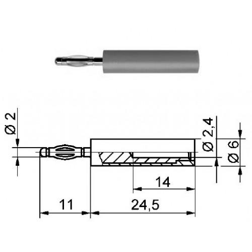 Арт. A 20-24 Ni Адаптер (переходник), штекер диаметром 2 мм / гнездо диаметром 2.4 мм Напряжение 33VAC / 70VDC 10А. Контактные части никелированные, корпус полиамид PA 6.6 (Polyamid)