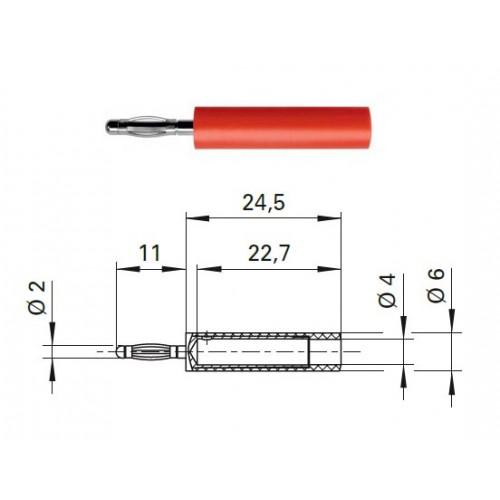 Арт. A 20-40 S Ni Адаптер (переходник), штекер диаметром 2 мм / гнездо диаметром 4 мм. Напряжение 33VAC / 70VDC 10А. Контактные части никелированные, корпус полиамид PA 6.6 (Polyamid)