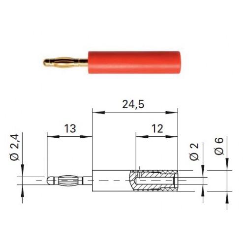 Арт. A 24-20 Au Адаптер (переходник), штекер диаметром 2.4 мм / гнездо диаметром 2 мм Напряжение 33VAC / 70VDC 10А. Контактные части позолоченные, корпус полиамид PA 6.6 (Polyamid)
