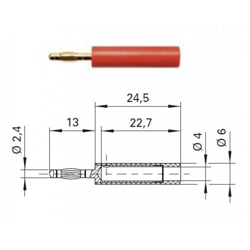 Арт. A 24-40 S Au Адаптер (переходник), штекер диаметром 2.4 мм / гнездо диаметром 4 мм Напряжение 33VAC / 70VDC 10А. Контактные части позолоченные, корпус полиамид PA 6.6 (Polyamid)