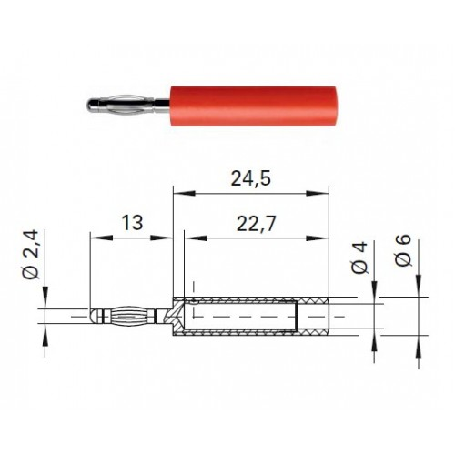 Арт. A 24-40 S Ni Адаптер (переходник), штекер диаметром 2.4 мм / гнездо диаметром 4 мм Напряжение 33VAC / 70VDC 10А. Контактные части никелированные, корпус полиамид PA 6.6 (Polyamid)