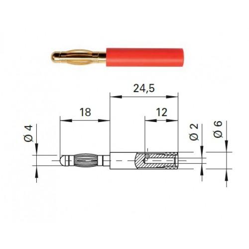Арт. A 40-20 Au Адаптер (переходник), штекер диаметром 4 мм / гнездо диаметром 2 мм Напряжение 33VAC / 70VDC 10А. Контактные части позолоченные, корпус полиамид PA 6.6 (Polyamid)