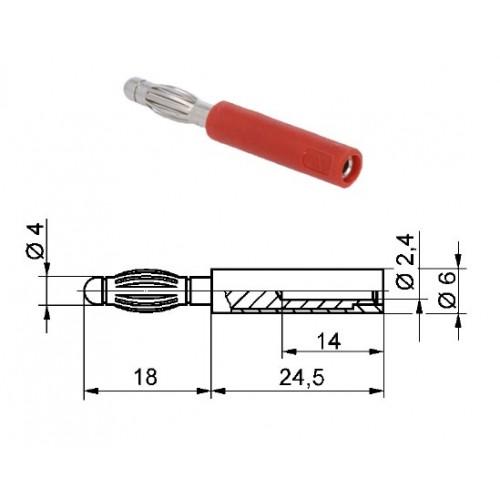 Арт. A 40-24 Ni Адаптер (переходник), штекер диаметром 4 мм / гнездо диаметром 2.4 мм Напряжение 33VAC / 70VDC 10А. Контактные части никелированные, корпус полиамид PA 6.6 (Polyamid)