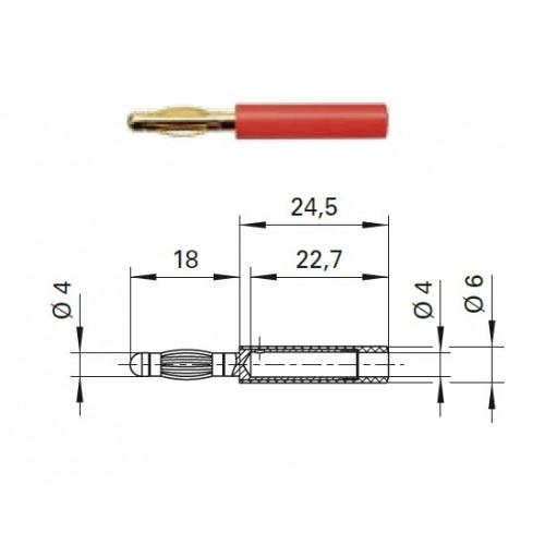 Арт. A 40-40 S Au Адаптер (переходник), штекер диаметром 4 мм / гнездо диаметром 4 мм Напряжение 33VAC / 70VDC 32А. Контактные части позолоченные, корпус полиамид PA 6.6 (Polyamid)