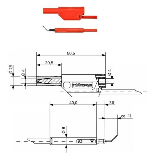 Арт. AL 8321 / ZPK / 1 / 100 Комплект измерительный (щуп + штекер), штекер банан диаметром 4 мм.. Тестовый пробник типа пинцет с зажимом из нерж. проволоки захват до 3 мм.. Напряжение 600 V CATII 19 А. Провод соединительный с сечением проводника 1 мм.кв.,