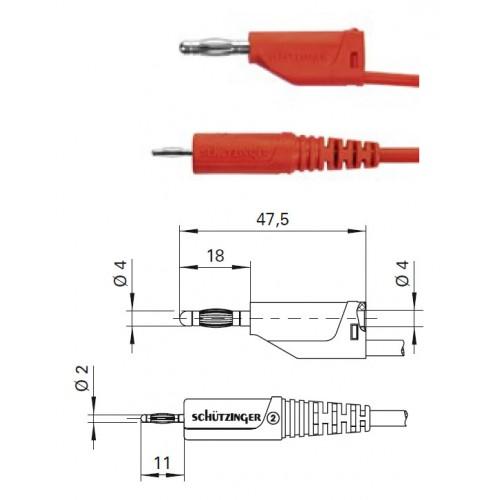 Арт. AL 2177 / 1 / 25 Провод соединительный, штекера банан диаметром 2 и 4 мм. Напряжение 33 VAC/70 VDC 10 А Контактные части никелированные.. Провод соединительный с сечением проводника 1 мм.кв., длинна 25 см., изоляция ПВХ двойная.