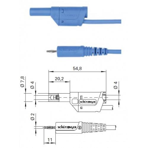 Арт. AL 2178 / 1 / 100 Провод соединительный, штекера банан диаметром 2 и 4 мм. Напряжение 33 VAC/70 VDC 10 А Контактные части никелированные. Провод соединительный с сечением проводника 1 мм.кв., длинна 100 см., изоляция ПВХ двойная.