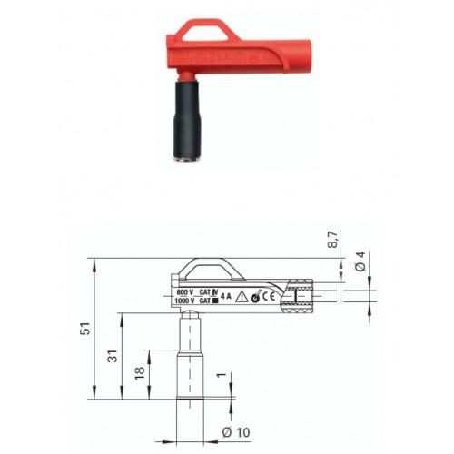 Арт. AWMG 7858 Ni / 10 Магнитный адаптер AWMG 7858 Ni/10 гнездо диаметром 4 мм 600 В CAT IV. Контактные части никелированные.