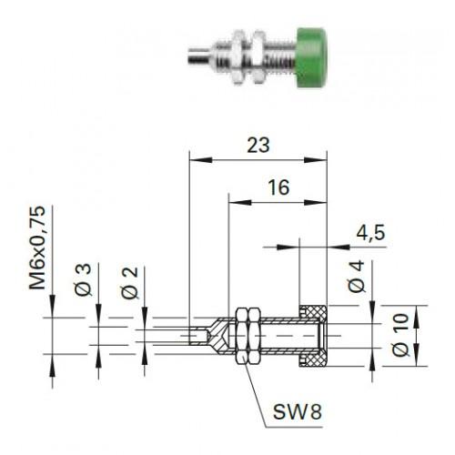 Арт. BU 403 Ni Гнездо под штекер банан, диаметром 4 мм., для стационарной установки. Напряжение 33 VAC/70 VDC 32 А. Подключение через кабельное ушко или пайка проводника сечением до 2 мм.кв. Контактные части никелированные