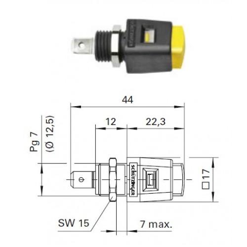 Арт. ESD 498 Стационарная нажимная пружинная клемма быстрого подключения (quick-release terminals) Напряжение 33 VAC/70 VDC/16A, размер рабочего монтажного окна 6,5x4 мм, контактная часть никелированная, корпус полиамид,