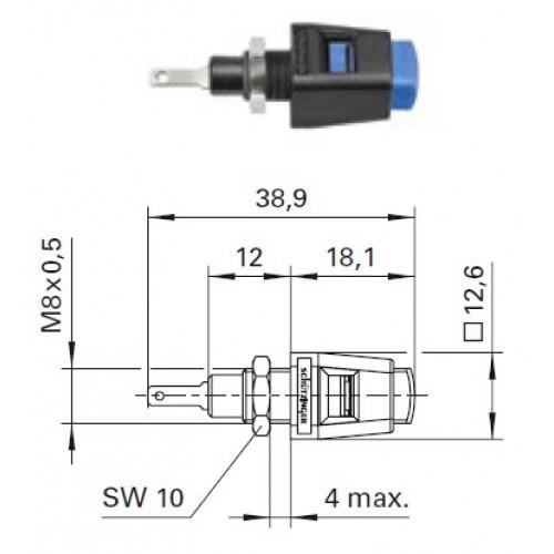 Арт. ESD 6554 Стационарная нажимная пружинная клемма быстрого подключения (quick-release terminals) Напряжение 33 VAC/70 VDC 5A, размер рабочего монтажного окна 6x3,7 мм, контактная часть никелированная, корпус полиамид,