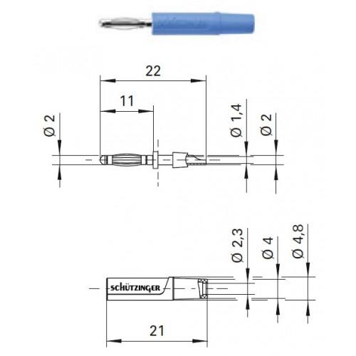 Арт. FK 02 L Ni Штекер банан, изолированный, диаметром 2 мм. Напряжение 33 VAC/70 VDC 10 А. Пайка проводника сечением до 0.5 мм.кв. Контактные части никелированные.