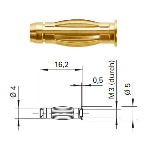Арт. FK 1184 Au Штекер банан, неизолированный, диаметром 4 мм., для стационарной установки. Напряжение 33 VAC/70 VDC 32 А. Контактные части позолоченные.