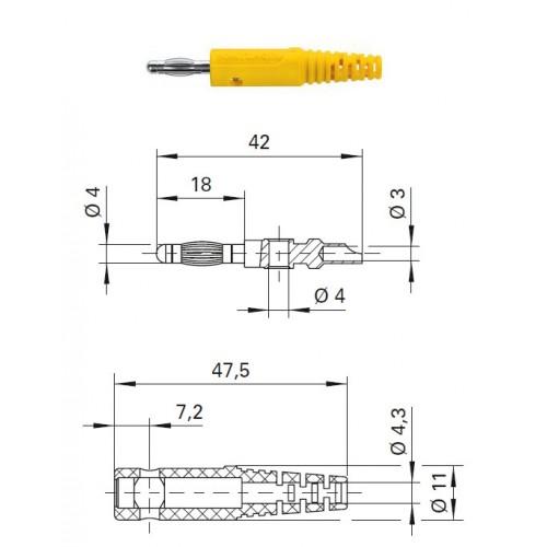 Арт. FK 8 L Ni Штекер банан, изолированный, диаметром 4 мм. Напряжение 33 VAC/70 VDC 32 А. Пайка проводника сечением до 2.5 мм.кв. Контактные части никелированные.