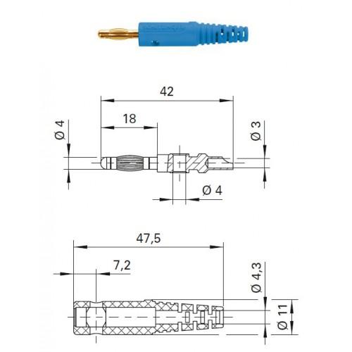 Арт. FK 8 L Au Штекер банан, изолированный, диаметром 4 мм. Напряжение 33 VAC/70 VDC 32 А. Пайка проводника сечением до 2.5 мм.кв. Контактные части позолоченные.