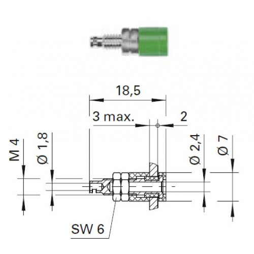 Арт. IBU 2413 Ni Гнездо под штекер банан, диаметром 2.4 мм., для стационарной установки. Напряжение 33 VAC/70 VDC 12 А. Пайка проводника сечением до 0.75 мм.кв. Контактные части никелированные.
