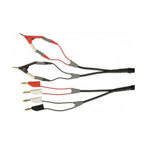 Арт. KML 7528 Измерительный комплект KML 7528 / 2ZA /4x0.22/1A/70V/Au зажимами (захват до 15mm), 4 штекера диаметром 4 mm