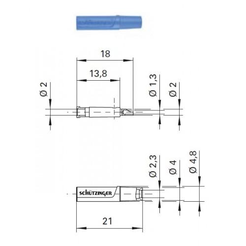 Арт. KU 02 L Ni Гнездо изолированное на провод, под штекер диаметром 2 мм 33VAC / 70VDC 10A. Пайка проводника сечением до 0.5 мм.кв. Контактные части никелированные.