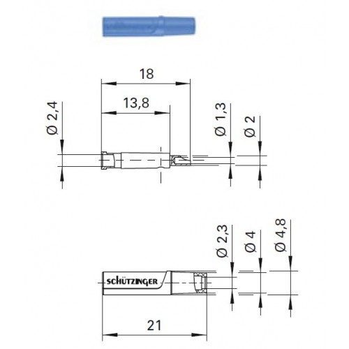 Арт. KU 04 L Au Гнездо изолированное на провод, под штекер диаметром 2.4 мм 33VAC / 70VDC 10A. Пайка проводника сечением до 0.5 мм.кв. Контактные части позолоченные.