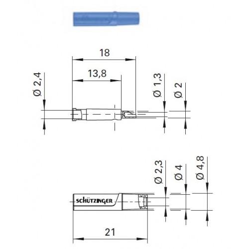 Арт. KU 04 L Ni Гнездо изолированное на провод, под штекер диаметром 2.4 мм 33VAC / 70VDC 10A. Пайка проводника сечением до 0.5 мм.кв. Контактные части никелированные.
