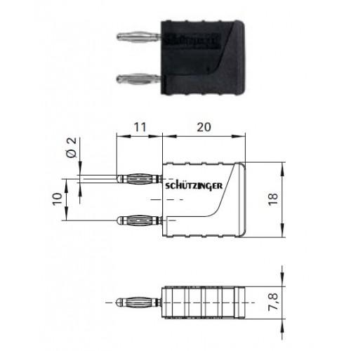 Арт. KURZ 10-2 IG Ni Вилка соединительная (приборная), изолированная, штекера диаметром 2 мм. Напряжение 33VAC/70VDC 10A. Контактные части никелированные, корпус полиамид