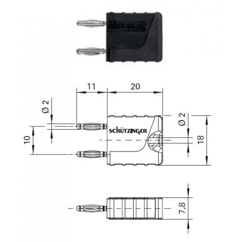 Арт. KURZ 10-2 IG MB Ni Вилка соединительная (приборная), изолированная, штекера и гнездо диаметром 2 мм. Напряжение 33VAC/70VDC 10A. Контактные части никелированные, корпус полиамид