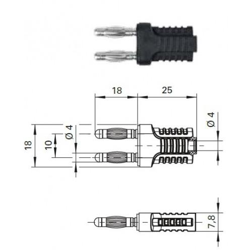 Арт. KURZ 10-4 IG MB Ni Вилка соединительная (приборная), изолированная, штекера и гнездо диаметром 4 мм. Напряжение 33VAC/70VDC 12A. Контактные части никелированные, корпус полиамид