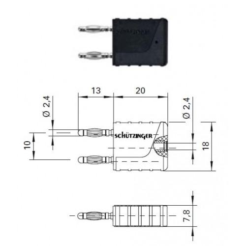 Арт. KURZ 10-2.4 IG MB Ni Вилка соединительная (приборная), изолированная, штекера и гнездо диаметром 2.4 мм. Напряжение 33VAC/70VDC 12A. Контактные части никелированные, корпус полиамид