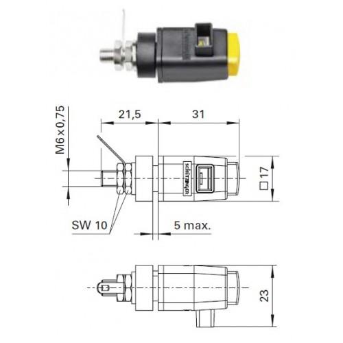 Арт. SDK 800 Стационарная нажимная пружинная клемма быстрого подключения (quick-release terminals) Напряжение 300 V CAT II 16A размер рабочего монтажного окна 8х4 мм, контактная часть никелированная, корпус полиамид