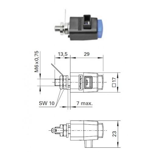 Арт. SDK 801 Стационарная нажимная пружинная клемма быстрого подключения (quick-release terminals) Напряжение 300 V CAT II 16A размер рабочего монтажного окна 8х4 мм, контактная часть никелированная, корпус полиамид