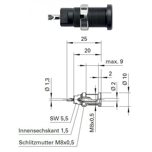 Арт. SEB 3400 Ni Гнездо под штекер банан, диаметром 2 мм., для стационарной установки. Напряжение 600 V CATIII 10 А. Пайка проводника сечением до 1 мм.кв. , контактные части никелированные.