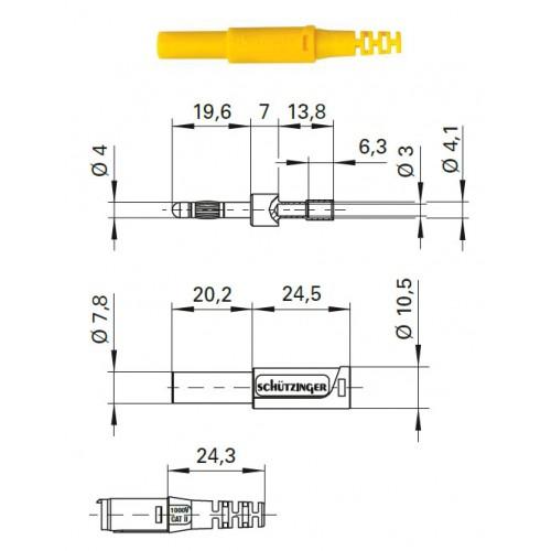 Арт. SFK 30 C Ni / OK Штекер банан, изолированный, диаметром 4 мм. Напряжение 1000 V CAT II 32 А. Обжимка проводника сечением до 2.5 мм.кв. Контактные части никелированные.