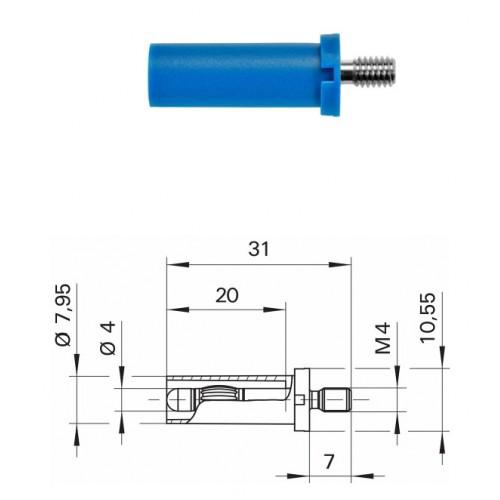 Арт. SFK 8465 Ni / M4 / 7 Штекер банан, неизолированный, диаметром 4 мм., для стационарной установки. Напряжение 600 V CATII 32 А. Контактные части никелированные.