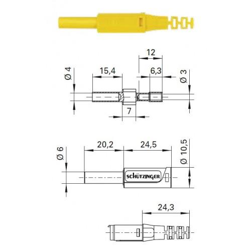 Арт. SKU 30 L Ni / OK Гнездо изолированное на провод, под штекер диаметром 4 мм. Напряжение 1000 V CAT II 32A. Пайка проводника сечением до 0.5 мм.кв., контактная часть никилированная