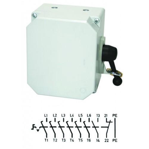 Арт. 137661 Выключатель нагрузки поворотный 6-ти пол. в алюминиевом корпусе 25A/690V IP65. С боковым креплением ручки выключателя. Код заказа V3LA6GK/3S