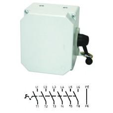 Арт. 137665 Выключатель нагрузки поворотный 6-ти пол. в алюминиевом корпусе 25A/400V IP65. С боковым креплением ручки выключателя. Код заказа V3LA6GK/3S