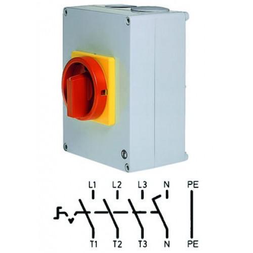 Арт. 32990211 Выключатель нагрузки поворотный 4-х полюсный в пластиковом корпусе 40A/690V IP65. Код заказа D2 05/HS-T5/6-D-MRG