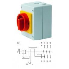 Арт. 188604 Выключатель в пластиковом корпусе S1 25A/400V, напряжение катушки 230V/50Hz IP65