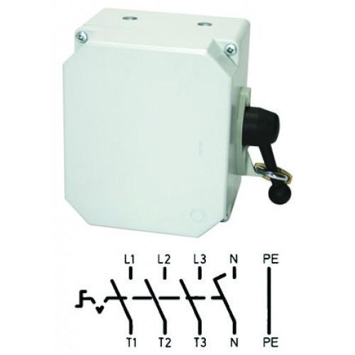 Арт. 46450 Выключатель нагрузки поворотный 4-х пол. в алюминиевом корпусе 45A/690V IP65. С боковым креплением ручки выключателя. Код заказа TA4GK 32/3S