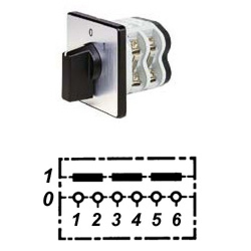 Арт. 146258 Трехполюсный кулачковый выключатель, контактных отсеков - 2, 32A/690V IP54, код заказа V3N A-F3-B-SI