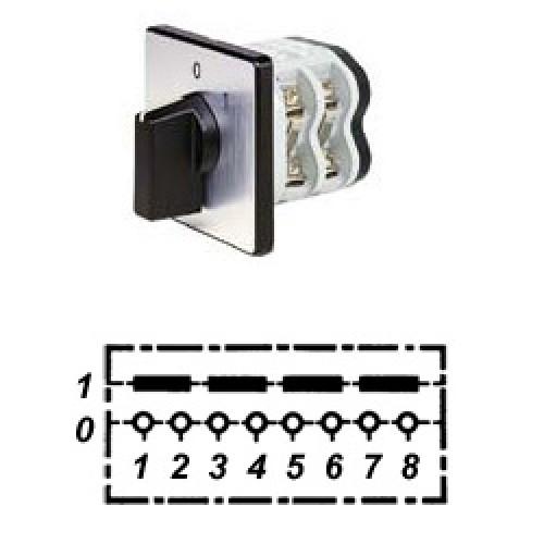 Арт. 141760 Четырехполюсный кулачковый выключатель, контактных отсеков - 2, 25A/690V IP54, код заказа V2N A4-F1-B-SI