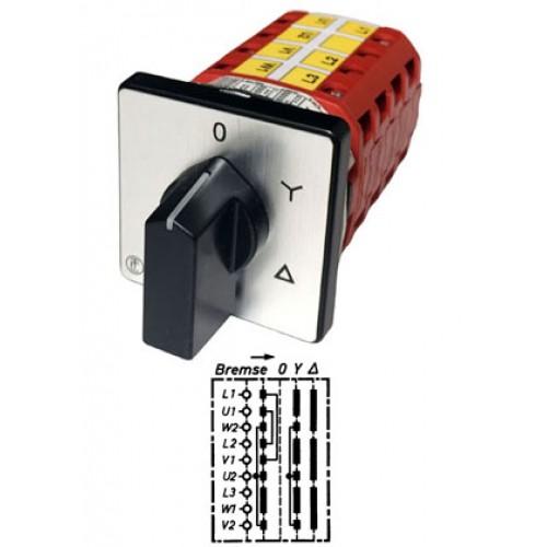 """Арт. 146294 Кулачковый переключатель звезда - треугольник с автовозратом, тормоз на """"0"""". Тип BY, контактных отсеков - 5, 32A/690V IP54, код заказа V3N ВY-F3-B-SI"""