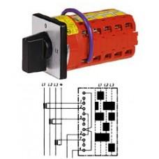 """Арт. 142124 Переключатель кулачковый для амперметров без положения """"0"""" Тип MA0, контактных отсеков - 4, 50A/400V IP54, код заказа V2N MA0-F1-B-SI"""