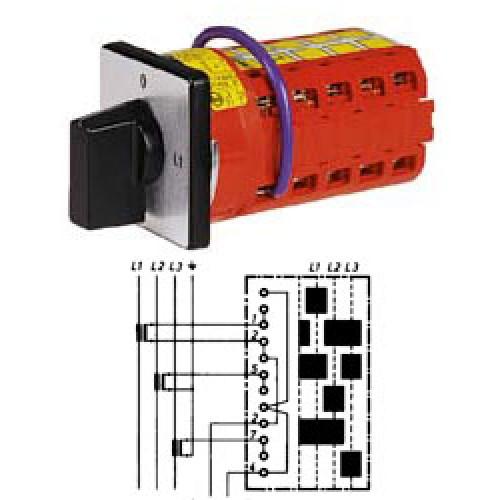 """Арт. 142124 Переключатель кулачковый для амперметров без положения """"0"""" Тип MA0, контактных отсеков - 4, 50A/690V IP54, код заказа V2N MA0-F1-B-SI"""